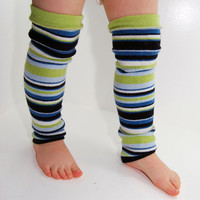 Leg Warmers for Kids - Lime and Blue Stripes - Recycled Sweaters