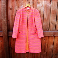 vintage womens long dress coat. R & K Knits. size S to M. gift for her