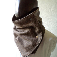 Men scarf. Men cowl,  Extra Wide, Herringbone wool 100% in black and brown. Trendy, modern, chunky  and cozy. READY TO SHIP.