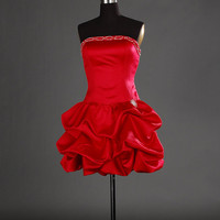 A-line Strapless Sleeveless Short / Mini Satin Prom Dresses With Beading Free Shipping