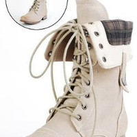 Amazon.com: Jetta25 Combat Back Zip Mid Calf Boots NATURAL: Shoes