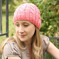 Knitted Hat - Cable Beanie in Strawberry Pink - Acrylic Yarn