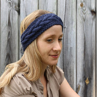 Knitted Earwarmer Headband in Dark Country Blue - Acrylic Yarn
