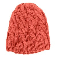 LARGE Cable Knit Hat - Orange Beanie - Pumpkin Spice Orange - Alpaca Wool Yarn
