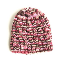 Knitted Hat - Variegated Rose Pink Wool - Cable Beanie - Wool Yarn
