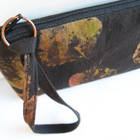 Black Bag Leaf Print Textile Art Brown Leaves Shimmer Evening Clutch