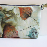 Olive Green Bag Nature Inspired Bag Zipper Pouch Leaf Prints Rust Aqua Black Monoprint
