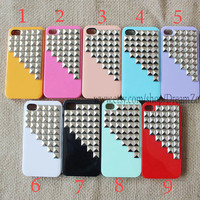 Studded Iphone Case Silver pyramid studs  IPHONE 4/4S Case----for Apple iPhone 4 Case, iPhone 4s Case, iPhone 4 Hard Case