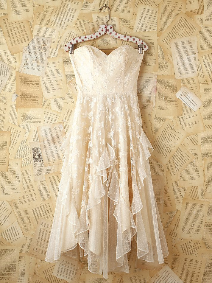 Free people vintage white lace strapless from free people for Vintage country wedding dresses