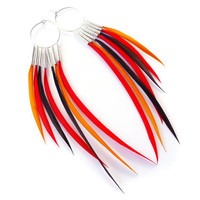 Phoenix Interchangeable Feather Earrings Orange, Red and Brown