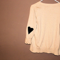 heart sweater cardigan cute tan cream and black eddie bauer vintage