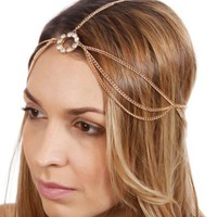 Layered Head Chain W/Rhinestone Pendant