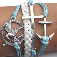 Unisex  simple fashion silver anchor,cross and Hunger Games Mocking Bird leather bracelet--blue and white wax rope leather braided bracelet