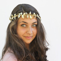 Gold Leaf Vine Crown - Tiara, Gold Leaves, Goddess, Greek, German Wedding Crown, Leaf Tiara