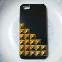 Gold Studded iPhone 5 case.black case with gold studs .Christmas gift