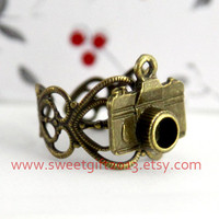 vintage style Camera ring adjustable antique bronze camera ring