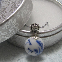 Ceramic Jewelry -Beautiful Traditional Chinese Ceramic Dragonfly Lacquer Necklace Pendant. White And Blue Porcelain pendant  Handmade.