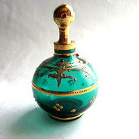 Bohemian Antique green Glass scent perfume bottle gilt jewelled Moser