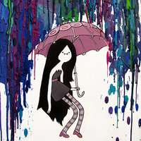 Adventure Time Inspired Painting - Daddy&#x27;s Little Monster - Marceline - Vampire Queen - Crayon Art - Melted - Print
