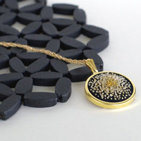Unique Gold and Black Hand Embroidery Necklace Pendant Statement Jewelry. French Knots Fiber Art Jewelry in Metallic Gold - PENDANT ONLY