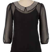 Bead Collar Sheer Blouse