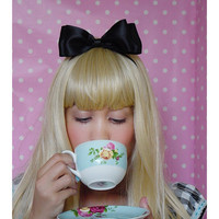 Alice In Wonderland Bow Black Headband Hair Bow Satin Bow Lady GaGa Alice Halloween Costume Accessory Hair Bow Women bow Teens bow Girls bow