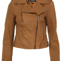 Tan Authentic Leather Jacket - Coats &amp; Jackets  - Apparel