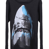 ROMWE | Shark Print Black T-shirt, The Latest Street Fashion