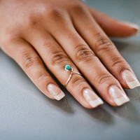 Turquoise Bead Knuckle Ring