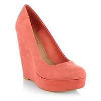 Dark peach wedge heeled court shoes at debenhams.com