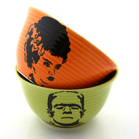 halloween wedding Mr and Mrs Wedding Gift Frankenstein Monster and Bride of Frankenstein bowls Halloween wedding gift