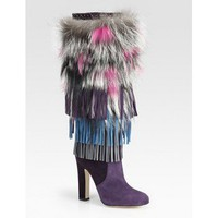 Jimmy Choo Dalia Fringed Suede &amp; Fur Knee-High Boots