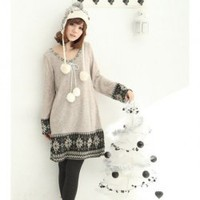 Round Neckline Snow Pattern Apricot Long Sleeves Loose Dress--Women&#x27;s Dresses China Wholesale - Sammydress.com