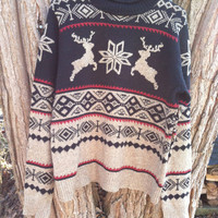 Woman's vintage Evan Picone reindeer sweater