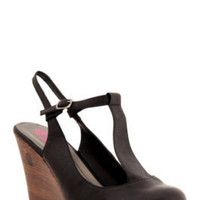 Tonya Black Leather Wedge (Wide Width) | Shoes