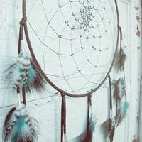 Large Black Dream Catcher with Blue Accents