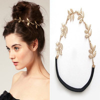 Metal Olive Leaves Leaf Headband Ring Hair Band Wrap Cuff Headwrap Hairdressing