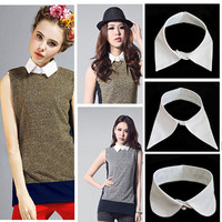 Women's Vintage Detachable Collar Blouse Shirt Tops Necklace Choker Unisex Tie