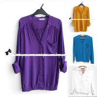 5 Colors Women's Buttons Up Long 3/4 Sleeve V-neck Shirt Tops Blouse 32-38 Loose