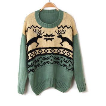 Holiday Green Reindeer Knit Crew Neck Sweater