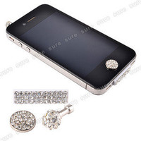 Bling iPhone 4 4S Anti dust Plug Dock Cap Stopper Home Button Sticker Crystal