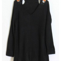 Open Shoulder Knit Sweater - Black