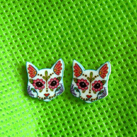 Day of the Dead Sugar Skull Kitty Cat Post Earrings