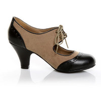 Wild Diva Reva 307 Taupe Suede Lace Up Oxford Heels - $28.00