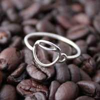 Handmade Sterling Coffee Cup ring Custom Made for by tladesigns