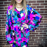 Vintage Pink Black Blue Green White Floral Oversized Blouse / Robe / Cardigan