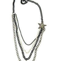 Layered Chain Nautical Star Necklace