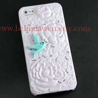 iPhone 5 Case, iPhone 5 Hard Case, white flower case with blue bird