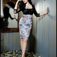 Deadly Dames Je T'Adore Dress in Victorian Rose Print | Pinup Girl Clothing