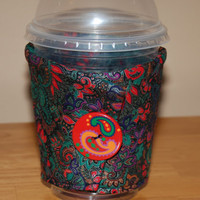 Insulated Eco-Friendly Reusable Handmade COFFEE CUP SLEEVE Paisley Christmas Gift